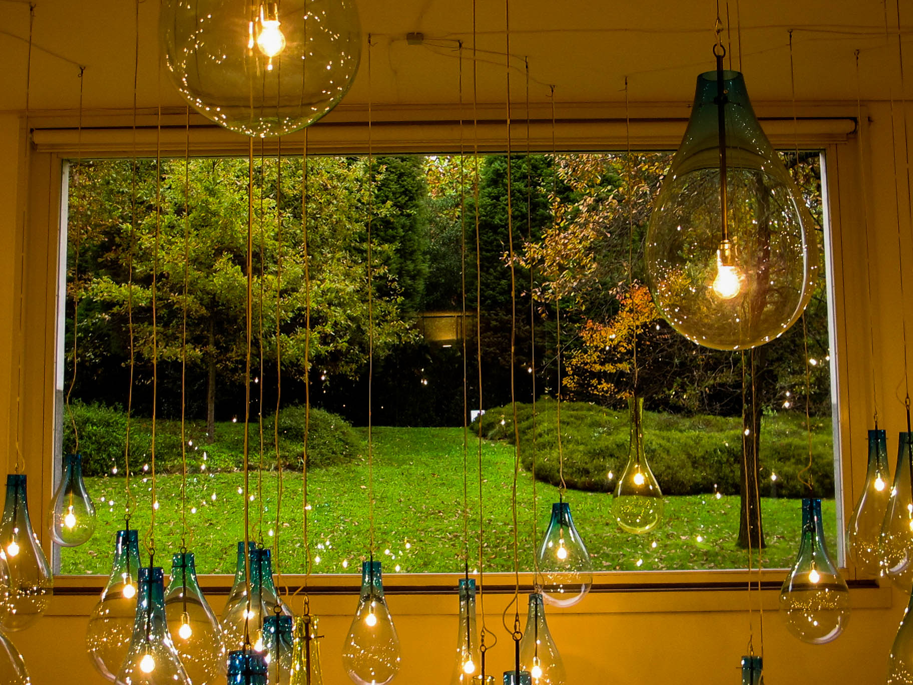 Different size light bulbs hanging in front of a generous window that shows the green park