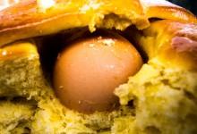 hard boiled Egg caged inside the dough