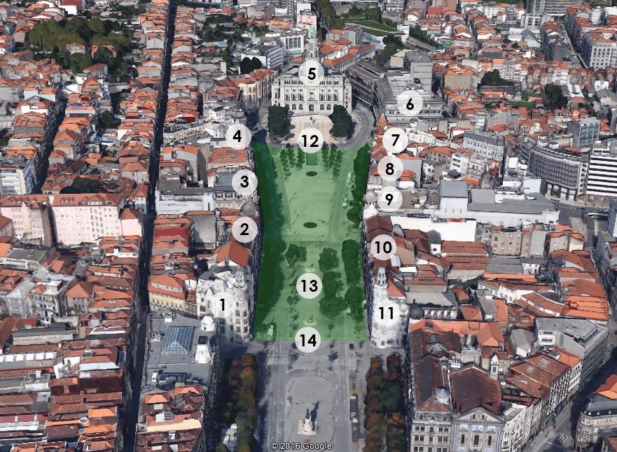 Mapa 3D de la Avenida dos Aliados de Oporto