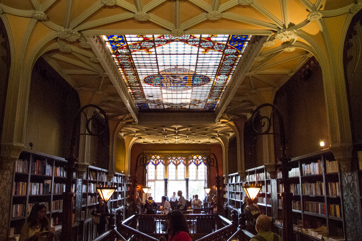 A perspective from inside Lello's Bookshop