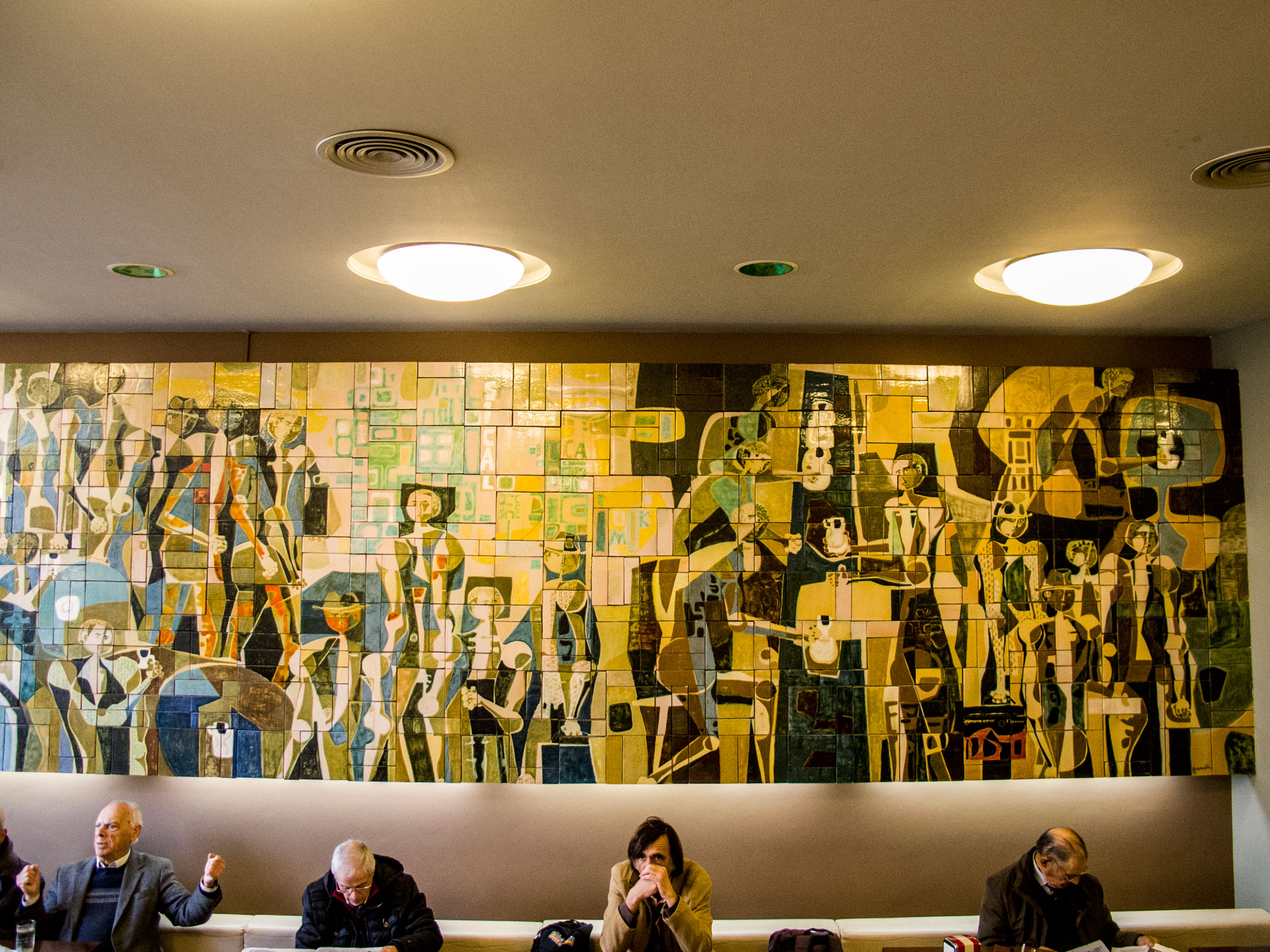 Tile mural by at Café Sical in Porto